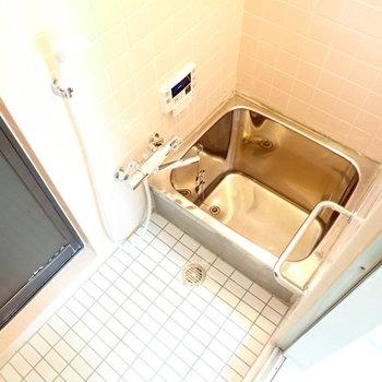 ステンレスのお風呂。昔懐かしい。扉がありますが、