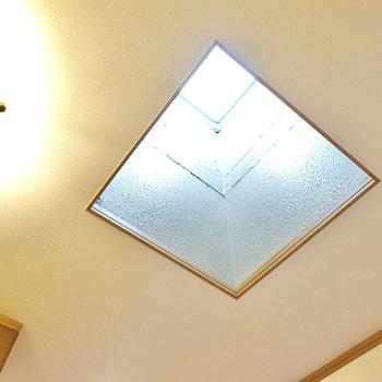 玄関の天井は吹き抜けていてトップライトになっています。暗くなりがちな玄関ですが、これなら昼間も電気を点けずに済みそう。