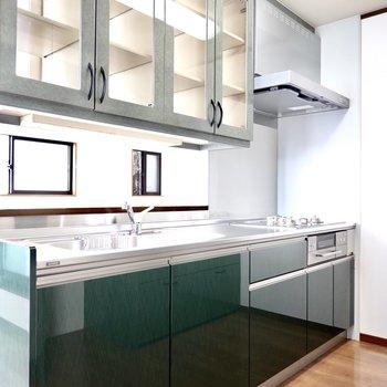 キッチンは奥まった場所に。深い緑のパネルカラーと中身が見える吊り戸棚がアクセント。