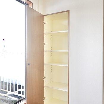 窓側の棚収納は生活雑貨を置くのにちょうど良さそう。