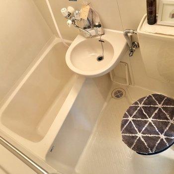 お次はサニタリールームへ。3点ユニットのお掃除はシャワーでサッと。※小物はサンプルです
