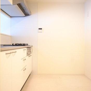 ゆったりしたキッチンです。背後に冷蔵庫を置いてもそれほど狭くはありません!