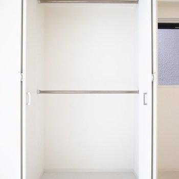こちらは2段構え。お洋服はもちろん、いろんな物を吊るして収納もできます。