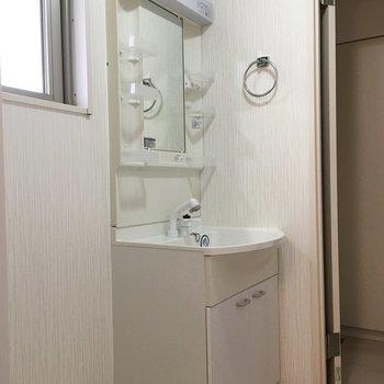 洗面台はシンプルタイプ。(※写真は3階の反転間取り別部屋のものです)