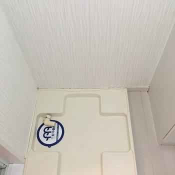 洗面台横に洗濯機置けます。(※写真は3階の反転間取り別部屋のものです)