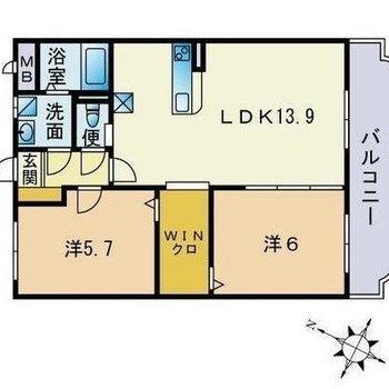 お部屋は2LDK!2人暮らしにオススメの間取りですね。