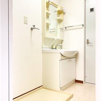 洗濯機置き場は洗面脱衣所に。