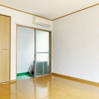 白壁沿いにテレビ台や収納ラックを置きたいな。