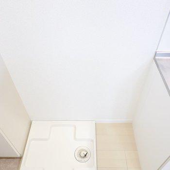 洗濯機置き場はこちらに。右側のスペースに収納が置けます。