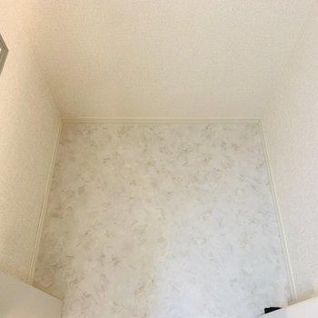 洗面所の隣には半畳ほどの物置スペース。何かと物が多くなる水回りには嬉しいスペースです!