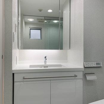 トイレの左側に大型の洗面台。※写真は3階の同間取り別部屋のものです