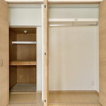 【洋室4.6帖】2つに分かれた収納スペース。
