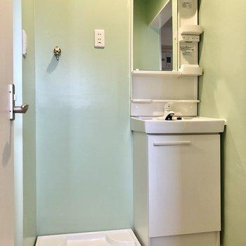 スリム洗面台と隣に洗濯機置き場。グリーンの空間です。