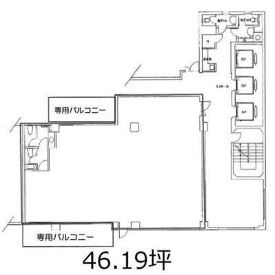虎ノ門 46.19坪 オフィス の間取り