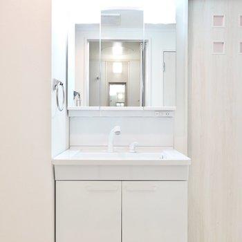 大きな鏡で身支度がしやすい洗面台。鏡の裏は収納で、シャンプードレッサーも付いています。