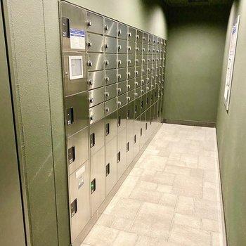 ポストと宅配ボックス。モスグリーンに精悍なシルバーが映える空間です。