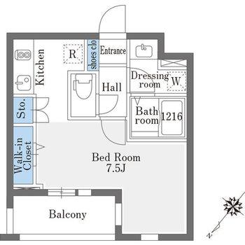 居室が斜めに連なったような間取り。
