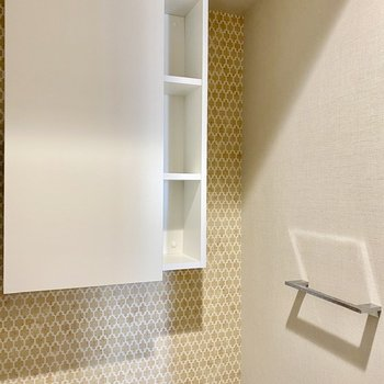 タオル掛けとスタイリッシュな戸棚。