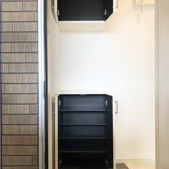 セパレートタイプのシューズボックスは1段に2足くらいのサイズ感の可動棚。