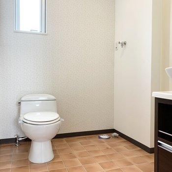 正面におトイレと洗濯機置場。窓があるのも嬉しいポイント。