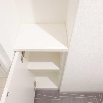 ドアの横には収納付き。扉の中にはロールなどの備品を、天板上には消臭剤などを置けます。