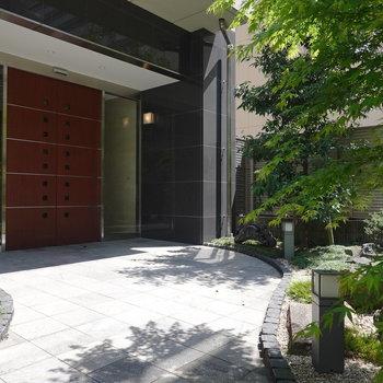 エントランス前には日本庭園風の綺麗に手入れされた緑溢れるお庭。