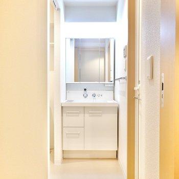 脱衣所に入ると正面にスタイリッシュな洗面台。