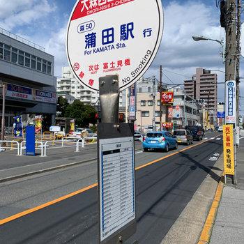そしてバス停も!蒲田駅まで部屋出てすぐで行けます。
