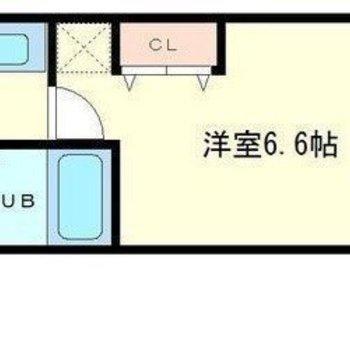 ひとり暮らし向けのコンパクトサイズ(※画像は反転間取り図です)