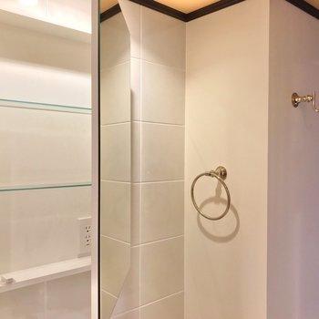 コンセントは鏡の中に。小物は全てゴールドで高級感たっぷり……!(※写真は5階の同間取り別部屋のものです)