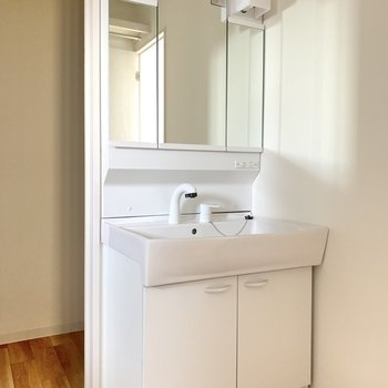 洗面台は大きめ!朝の支度もスムーズそうです。(※写真は同間取り別部屋のお部屋です)