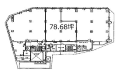 池袋 78.6坪 オフィス の間取り