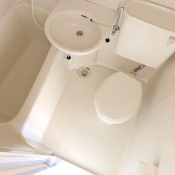 きれいめの3点ユニット。お掃除が楽ちんでいいですね。(※写真は同間取り8階のお部屋です)