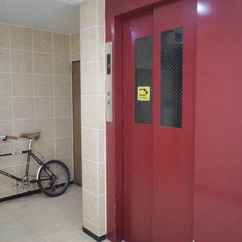 真っ赤なエレベーターとブラウン基調の空間は、クラシックな雰囲気が漂います。