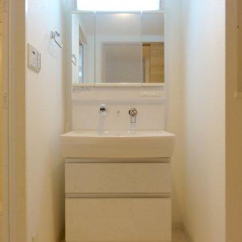 洗面台の下の棚は引き出しタイプ(※写真は2階の同間取り別部屋のものです)