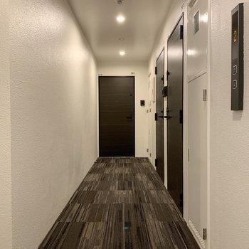 玄関前、共用部です。カーペットの廊下なので、音を吸収します。