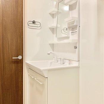 独立洗面台はコンセントも挿せるタイプです。