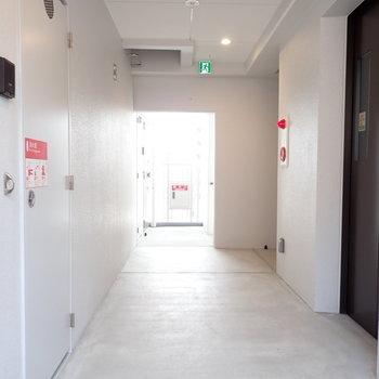 共用部】モノトーンな廊下。