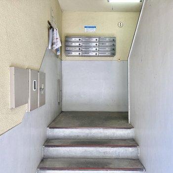 5階までは階段です。ポストは1階部分にありますよ。