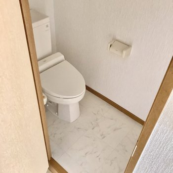 トイレはウォシュレット付き。(※写真は2階の同間取り別部屋のものです)