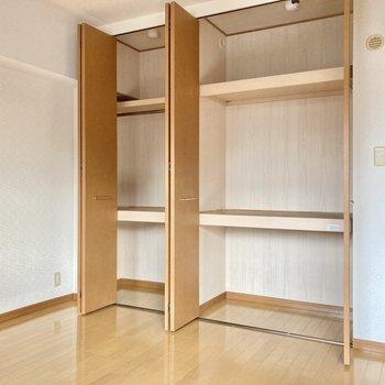 収納は棚が3段になっています。ハンガーポールもついています。(※写真は2階の同間取り別部屋のものです)