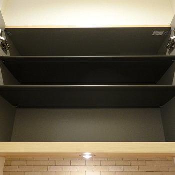 上部は1段に3足ほど入りそうな大きさの棚が3段。