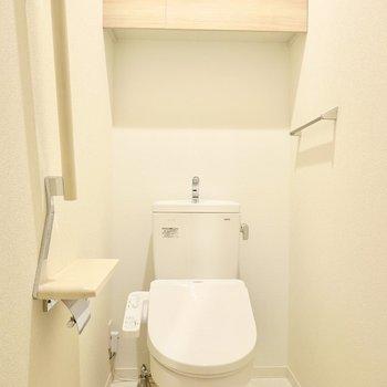 トイレはウォシュレット付き。収納やホルダーなどもしっかり付いています。