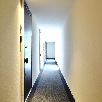 玄関前。共用部は完全な室内空間で、空調も効いています。