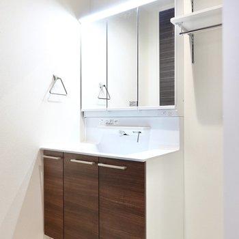 その隣には大きな鏡の洗面台。いつもの身支度がよりスムーズになりそうですね。