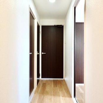 廊下に出て右手に脱衣所とトイレ。正面のドアの先は約5.5帖の洋室。