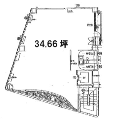 浅草 34.66坪 オフィス の間取り