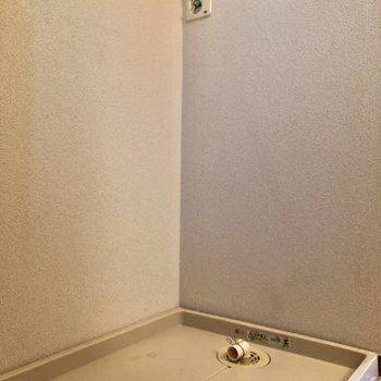 左手側には洗濯機を置けます。※写真は1階同間取り別部屋のものです。