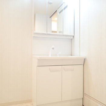 洗面台は鏡の裏が収納です。