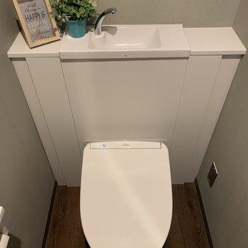 下の階のトイレは緑ありで、爽やかな空間を。